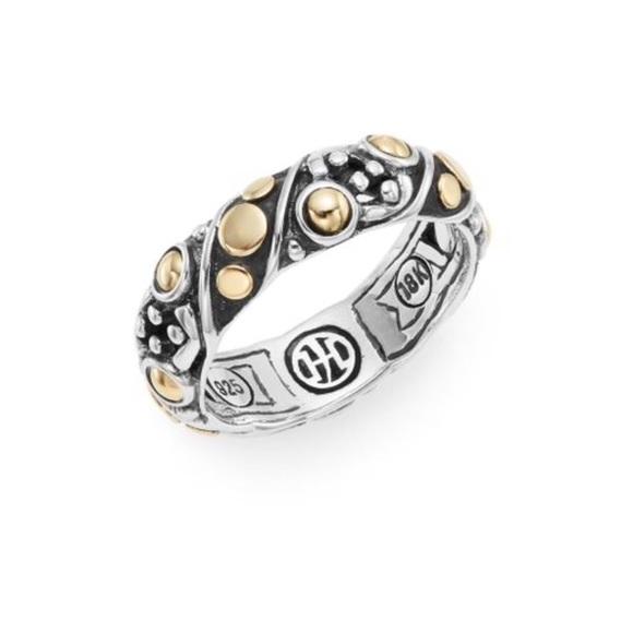 John Hardy Jaisalmer Dot Gold/Silver Band Ring, Size 7